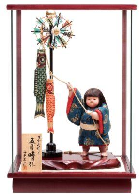 こいのぼりを人形が引き上げる五月人形・引上げ人形